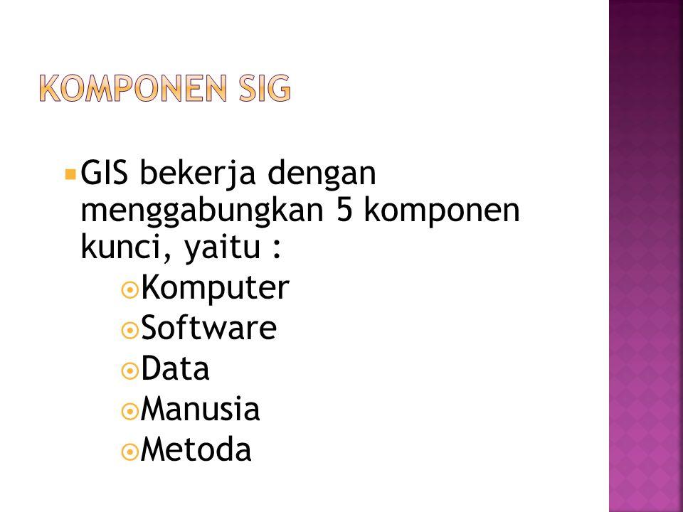  GIS bekerja dengan menggabungkan 5 komponen kunci, yaitu :  Komputer  Software  Data  Manusia  Metoda