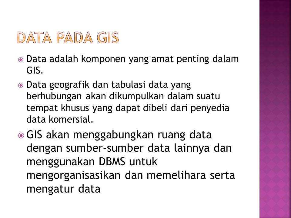  Data adalah komponen yang amat penting dalam GIS.