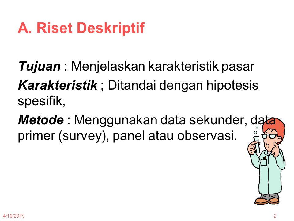 A.Riset Deskriptif Data yang dikumpulkan : 8000 responden yang dipilih dari tiga kota besar.