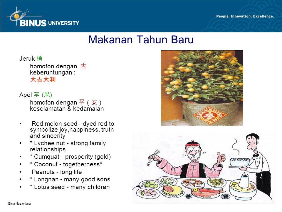 Bina Nusantara Makanan Tahun Baru Jeruk 橘 homofon dengan 吉 keberuntungan : 大吉大利 Apel 苹 ( 果 ) homofon dengan 平(安) keselamatan & kedamaian Red melon see