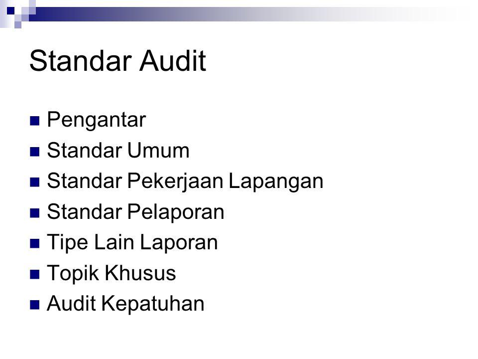Standar Audit Pengantar Standar Umum Standar Pekerjaan Lapangan Standar Pelaporan Tipe Lain Laporan Topik Khusus Audit Kepatuhan