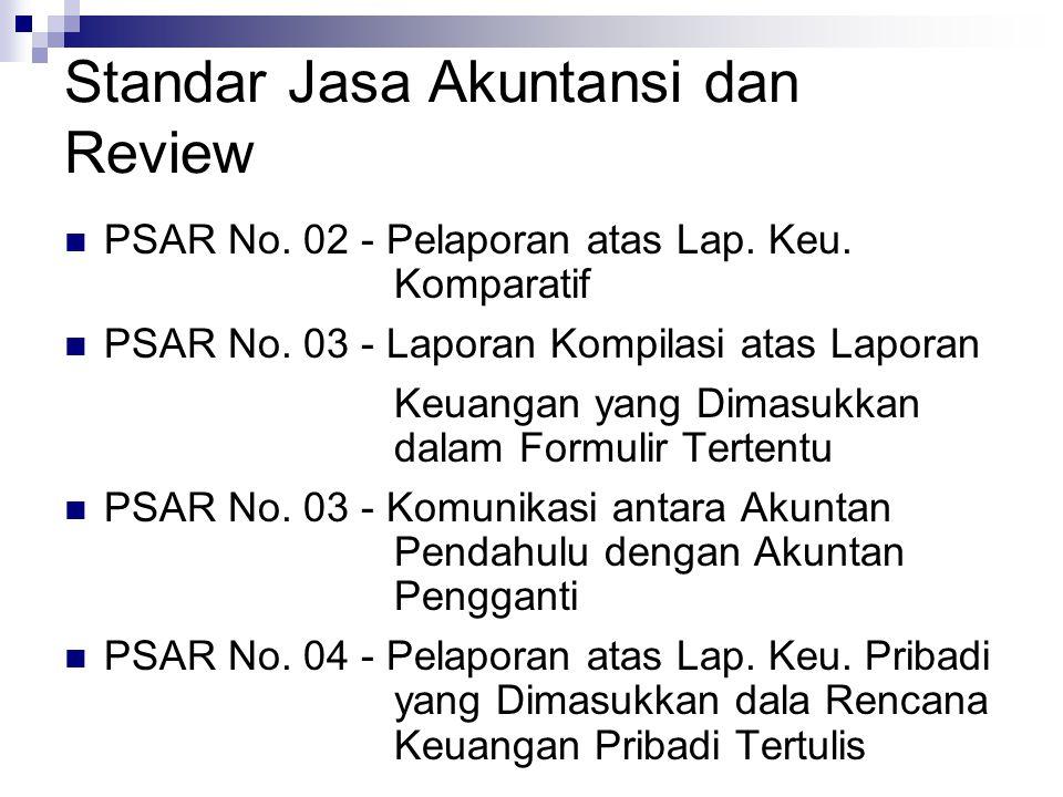 Standar Jasa Akuntansi dan Review PSAR No. 02 - Pelaporan atas Lap. Keu. Komparatif PSAR No. 03 - Laporan Kompilasi atas Laporan Keuangan yang Dimasuk