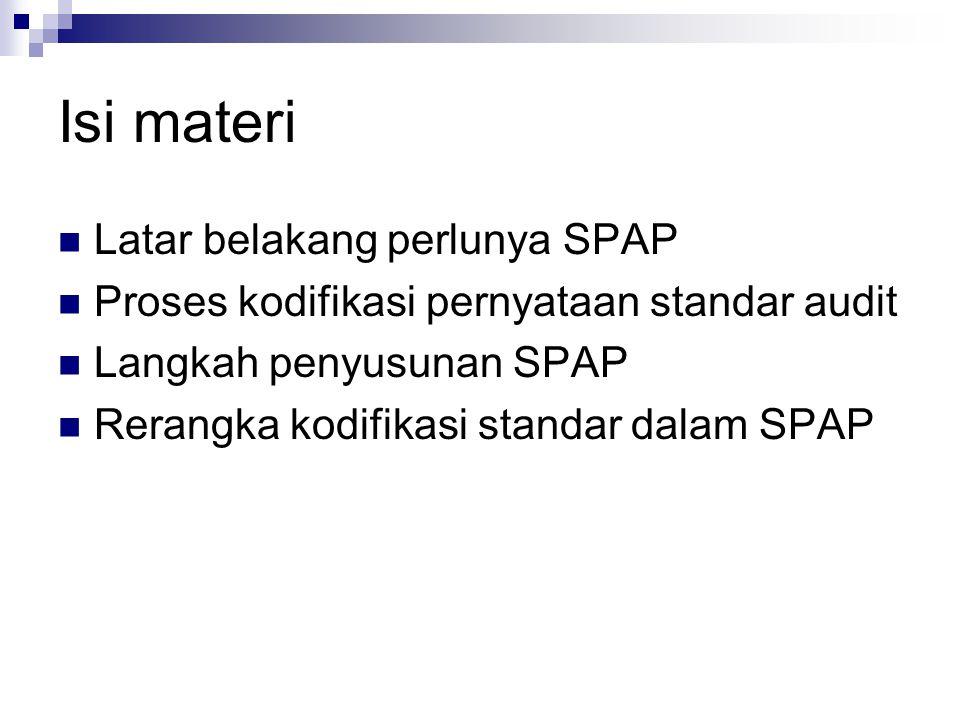 Isi materi Latar belakang perlunya SPAP Proses kodifikasi pernyataan standar audit Langkah penyusunan SPAP Rerangka kodifikasi standar dalam SPAP