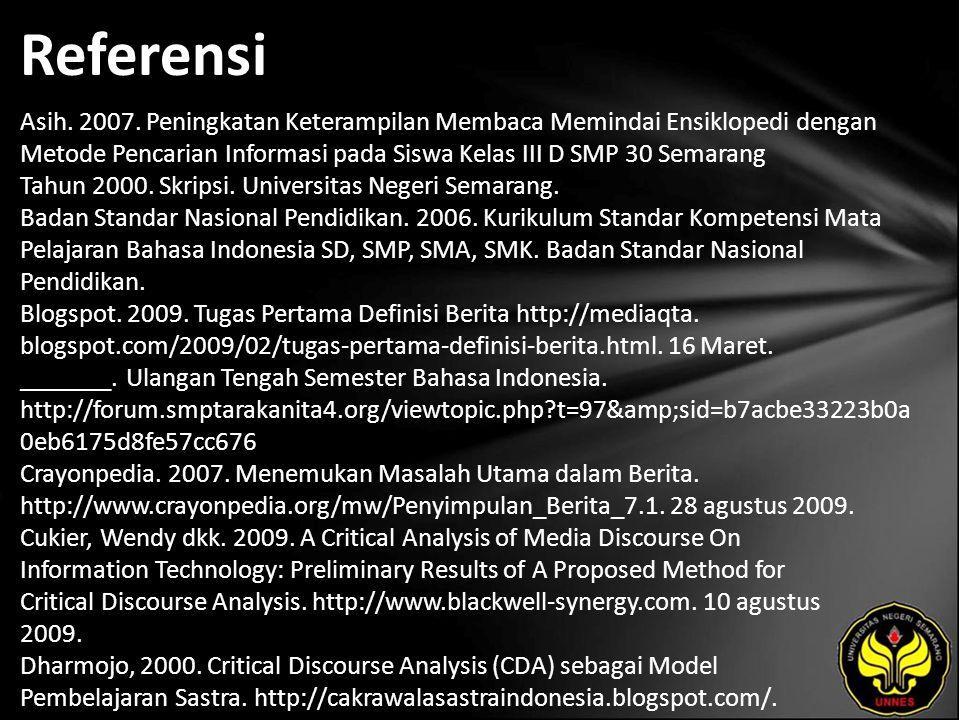 Referensi Asih. 2007.