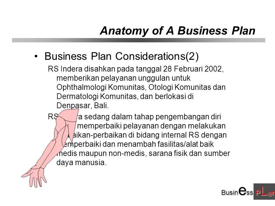 Busin e ss P L @ n Anatomy of A Business Plan Business Plan Considerations(2) RS Indera disahkan pada tanggal 28 Februari 2002, memberikan pelayanan unggulan untuk Ophthalmologi Komunitas, Otologi Komunitas dan Dermatologi Komunitas, dan berlokasi di Denpasar, Bali.