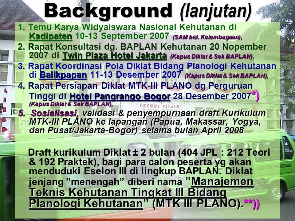 Background (lanjutan) Kadipaten (SAM bid. Kelembagaan), 1. Temu Karya Widyaiswara Nasional Kehutanan di Kadipaten 10-13 September 2007 (SAM bid. Kelem