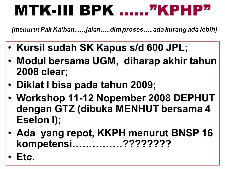 MTK-III BPK …… KPHP (menurut Pak Ka'ban, ….jalan…..dlm proses…..ada kurang ada lebih) Kursil sudah SK Kapus s/d 600 JPL; Modul bersama UGM, diharap akhir tahun 2008 clear; Diklat I bisa pada tahun 2009; Workshop 11-12 Nopember 2008 DEPHUT dengan GTZ (dibuka MENHUT bersama 4 Eselon I); Ada yang repot, KKPH menurut BNSP 16 kompetensi……………???????.
