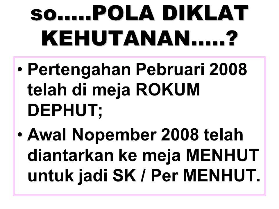 so…..POLA DIKLAT KEHUTANAN…..? Pertengahan Pebruari 2008 telah di meja ROKUM DEPHUT; Awal Nopember 2008 telah diantarkan ke meja MENHUT untuk jadi SK