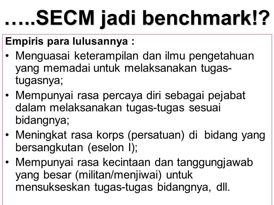 …..SECM jadi benchmark!? Empiris para lulusannya : Menguasai keterampilan dan ilmu pengetahuan yang memadai untuk melaksanakan tugas- tugasnya; Mempun