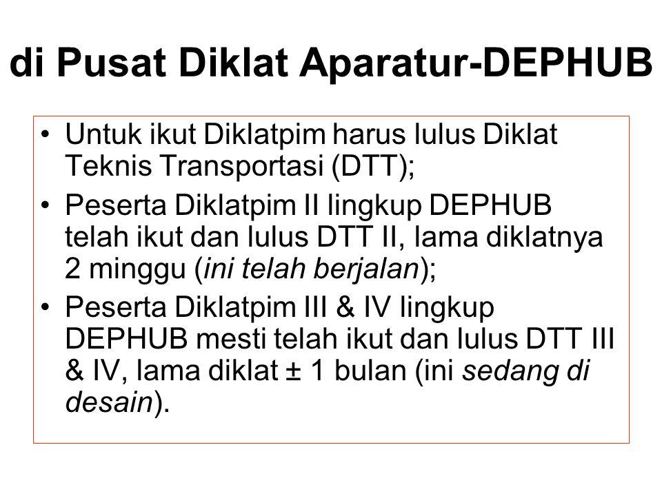 di Pusat Diklat Aparatur-DEPHUB Untuk ikut Diklatpim harus lulus Diklat Teknis Transportasi (DTT); Peserta Diklatpim II lingkup DEPHUB telah ikut dan
