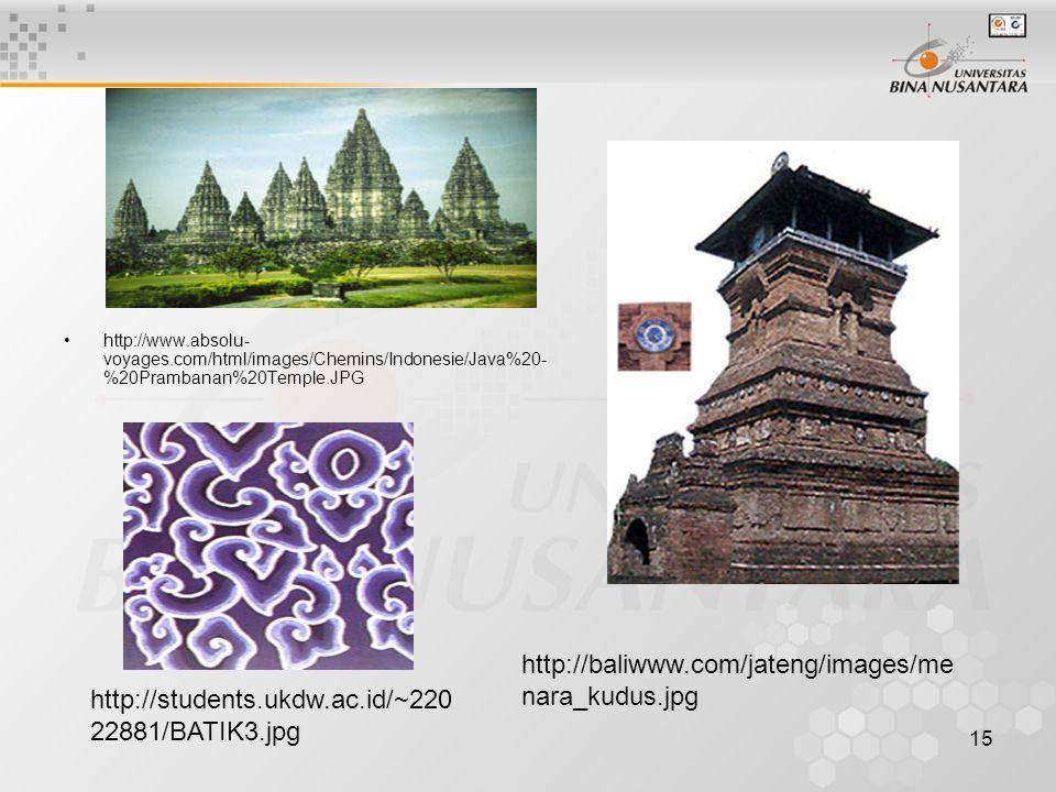 15 http://www.absolu- voyages.com/html/images/Chemins/Indonesie/Java%20- %20Prambanan%20Temple.JPG http://baliwww.com/jateng/images/me nara_kudus.jpg http://students.ukdw.ac.id/~220 22881/BATIK3.jpg
