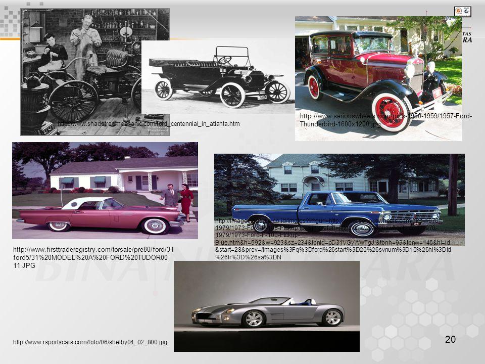 20 http://www.firsttraderegistry.com/forsale/pre80/ford/31 ford5/31%20MODEL%20A%20FORD%20TUDOR00 11.JPG http://www.seriouswheels.com/pics-1950-1959/1957-Ford- Thunderbird-1600x1200.jpg http://images.google.co.id/imgres imgurl=http://www.seriouswheels.com/pics-1970- 1979/1973-Ford-F-100-Pickup.jpg&imgrefurl=http://www.seriouswheels.com/1970- 1979/1973-Ford-F-100-Pickup- Blue.htm&h=592&w=923&sz=234&tbnid=pD31VGyWwTgJ:&tbnh=93&tbnw=146&hl=id &start=28&prev=/images%3Fq%3Dford%26start%3D20%26svnum%3D10%26hl%3Did %26lr%3D%26sa%3DN http://www.shadetreemechanic.com/ford_centennial_in_atlanta.htm http://www.rsportscars.com/foto/06/shelby04_02_800.jpg