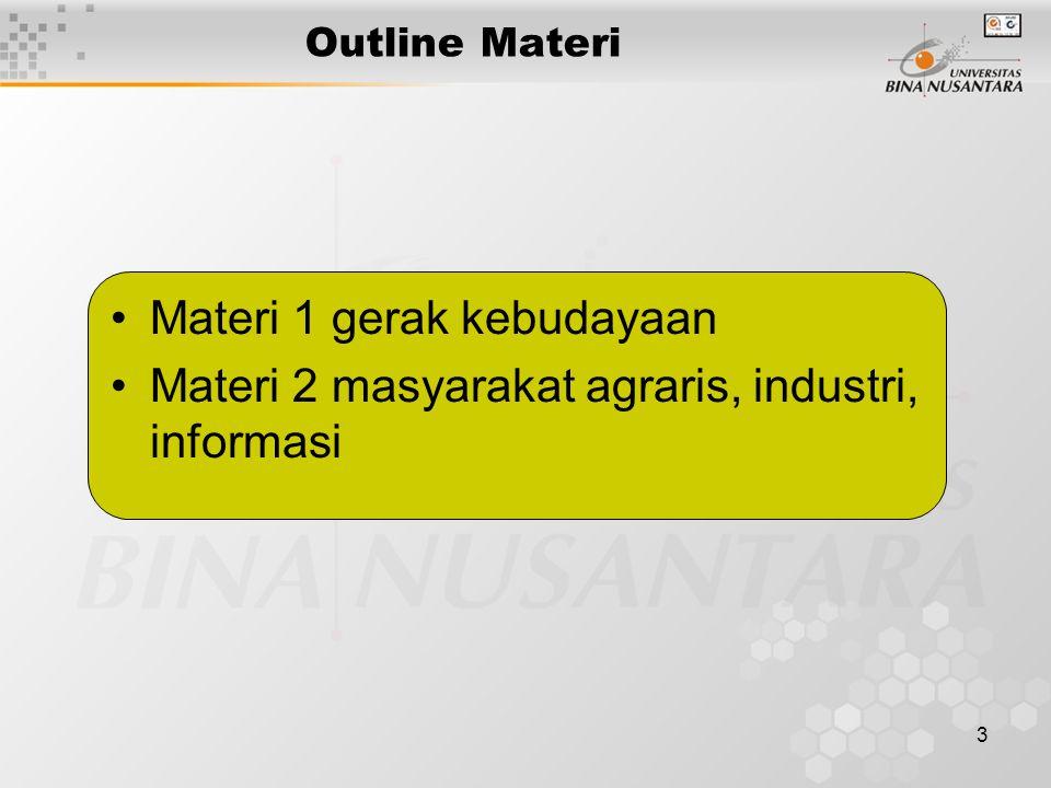 3 Outline Materi Materi 1 gerak kebudayaan Materi 2 masyarakat agraris, industri, informasi