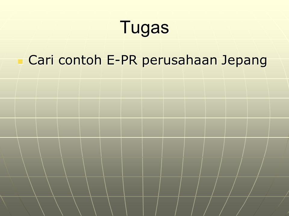 Tugas Cari contoh E-PR perusahaan Jepang Cari contoh E-PR perusahaan Jepang