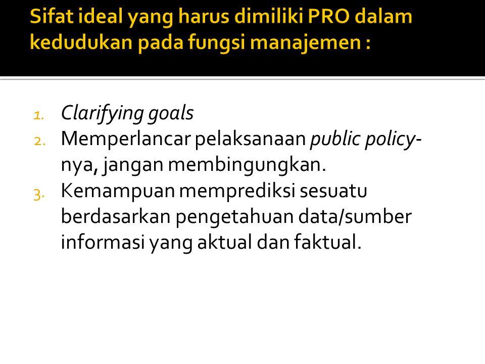 1. Clarifying goals 2. Memperlancar pelaksanaan public policy- nya, jangan membingungkan. 3. Kemampuan memprediksi sesuatu berdasarkan pengetahuan dat