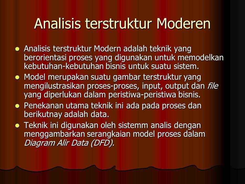 Analisis terstruktur Moderen Analisis terstruktur Modern adalah teknik yang berorientasi proses yang digunakan untuk memodelkan kebutuhan-kebutuhan bisnis untuk suatu sistem.