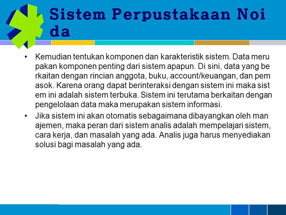 Sistem Perpustakaan Noi da Kemudian tentukan komponen dan karakteristik sistem.