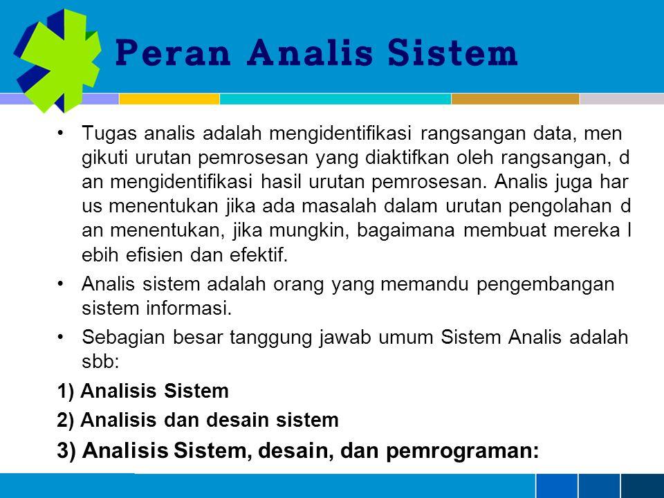 Peran Analis Sistem Tugas analis adalah mengidentifikasi rangsangan data, men gikuti urutan pemrosesan yang diaktifkan oleh rangsangan, d an mengidentifikasi hasil urutan pemrosesan.
