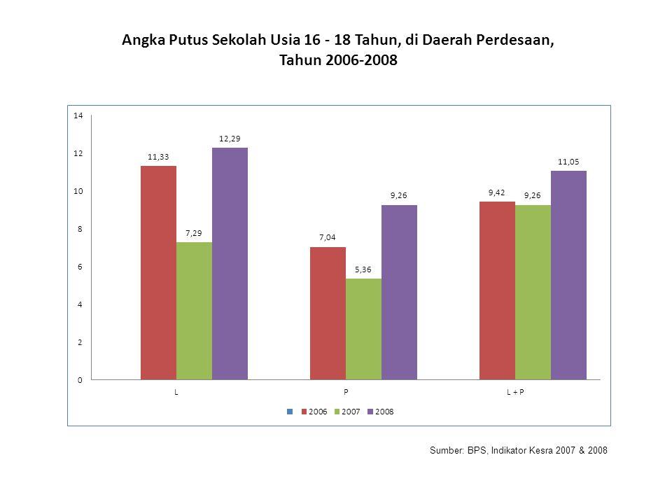 Sumber: BPS, Indikator Kesra 2007 & 2008 Angka Putus Sekolah Usia 16 - 18 Tahun, di Daerah Perdesaan, Tahun 2006-2008