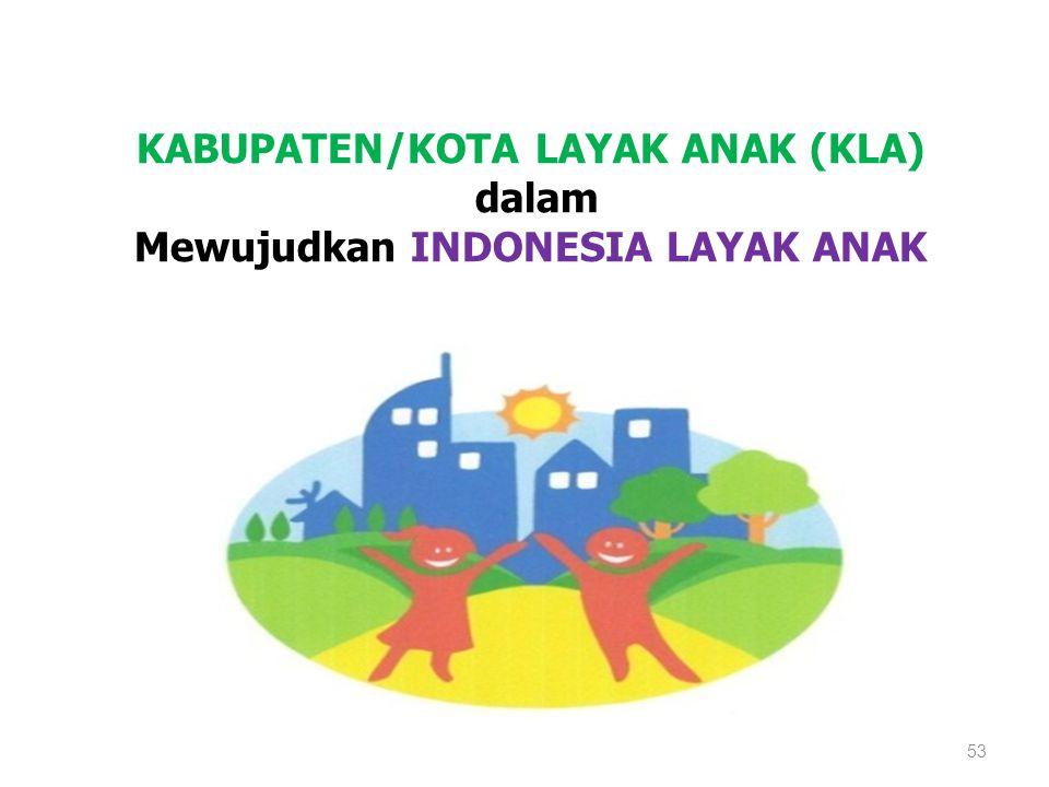 KABUPATEN/KOTA LAYAK ANAK (KLA) dalam Mewujudkan INDONESIA LAYAK ANAK 53