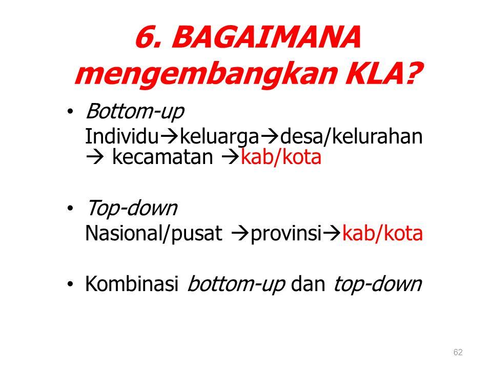 6. BAGAIMANA mengembangkan KLA? Bottom-up Individu  keluarga  desa/kelurahan  kecamatan  kab/kota Top-down Nasional/pusat  provinsi  kab/kota Ko