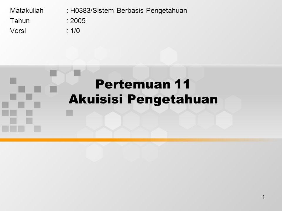 1 Pertemuan 11 Akuisisi Pengetahuan Matakuliah: H0383/Sistem Berbasis Pengetahuan Tahun: 2005 Versi: 1/0