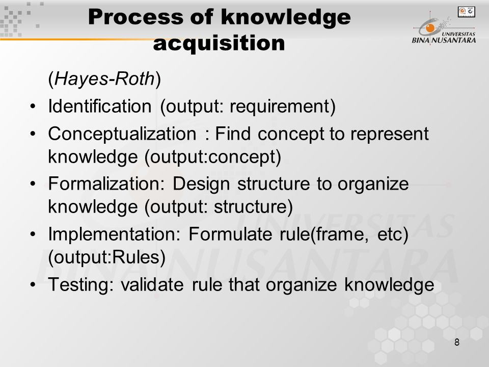 8 Process of knowledge acquisition (Hayes-Roth) Identification (output: requirement) Conceptualization : Find concept to represent knowledge (output:c