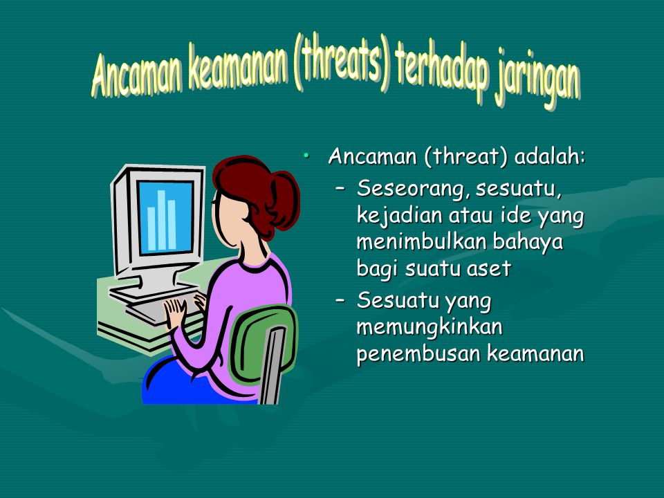 Ancaman (threat) adalah:Ancaman (threat) adalah: –Seseorang, sesuatu, kejadian atau ide yang menimbulkan bahaya bagi suatu aset –Sesuatu yang memungki