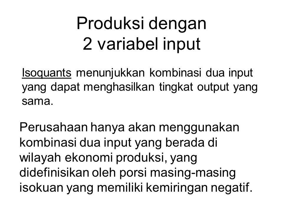 Produksi dengan 2 variabel input Isoquants menunjukkan kombinasi dua input yang dapat menghasilkan tingkat output yang sama. Perusahaan hanya akan men