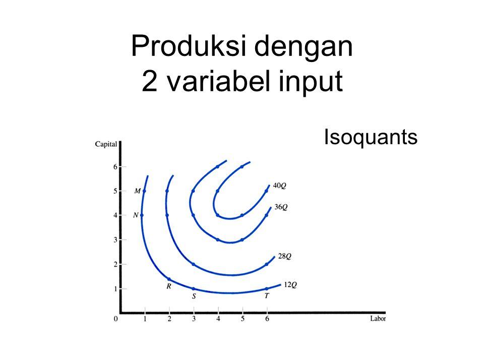 Produksi dengan 2 variabel input Isoquants
