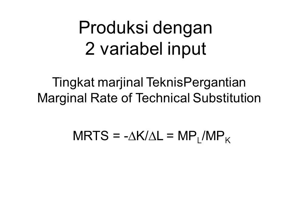Produksi dengan 2 variabel input Tingkat marjinal TeknisPergantian Marginal Rate of Technical Substitution MRTS = -  K/  L = MP L /MP K