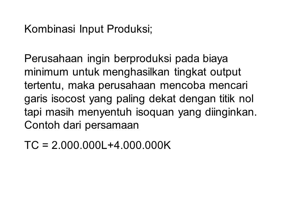 Kombinasi Input Produksi; Perusahaan ingin berproduksi pada biaya minimum untuk menghasilkan tingkat output tertentu, maka perusahaan mencoba mencari