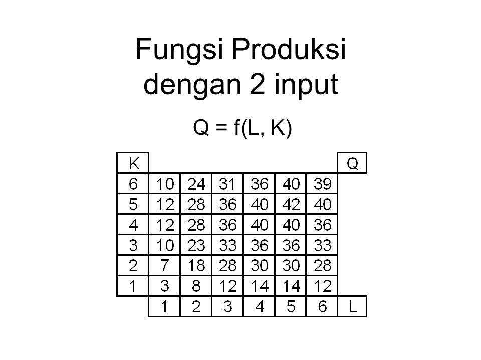 Fungsi Produksi dengan 2 input Q = f(L, K)