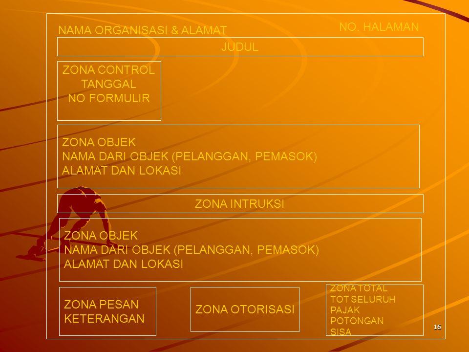 16 NAMA ORGANISASI & ALAMAT NO. HALAMAN JUDUL ZONA CONTROL TANGGAL NO FORMULIR ZONA OBJEK NAMA DARI OBJEK (PELANGGAN, PEMASOK) ALAMAT DAN LOKASI ZONA