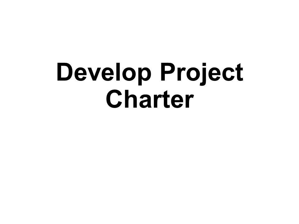 Develop Project Charter: Outputs Project Charter Tujuan proyek dan justifikasi Tujuan proyek yang terukur dengan kriteria keberhasilan yang terkait Persyaratan tingkat tinggi (High-level requirements) Asumsi dan kendala (Assumptions and constraints) Deskripsi proyek dan batasan tingkat tinggi (High-level project description and boundaries) Risiko tingkat tinggi (High-level risks) Ringkasan Jadwal Kegiatan (Summary milestone schedule) Ringkasan anggaran (Summary budget) Daftar Stakeholder Persyaratan persetujuan proyek (yaitu, persetujuan apakah proyek ini berhasil) Ketetapan manajer proyek, tanggung jawab, dan tingkat otoritas Nama dan kewenangan sponsor atau orang lain terhadap Project Charter