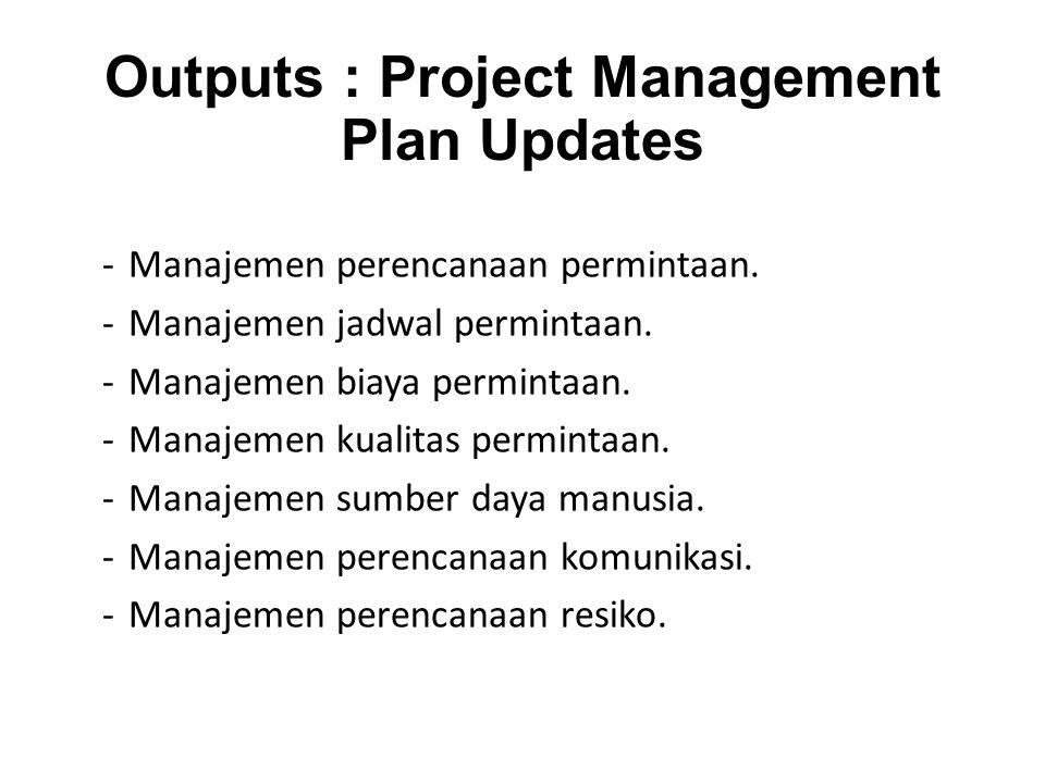 Outputs : Project Management Plan Updates -Manajemen perencanaan permintaan.