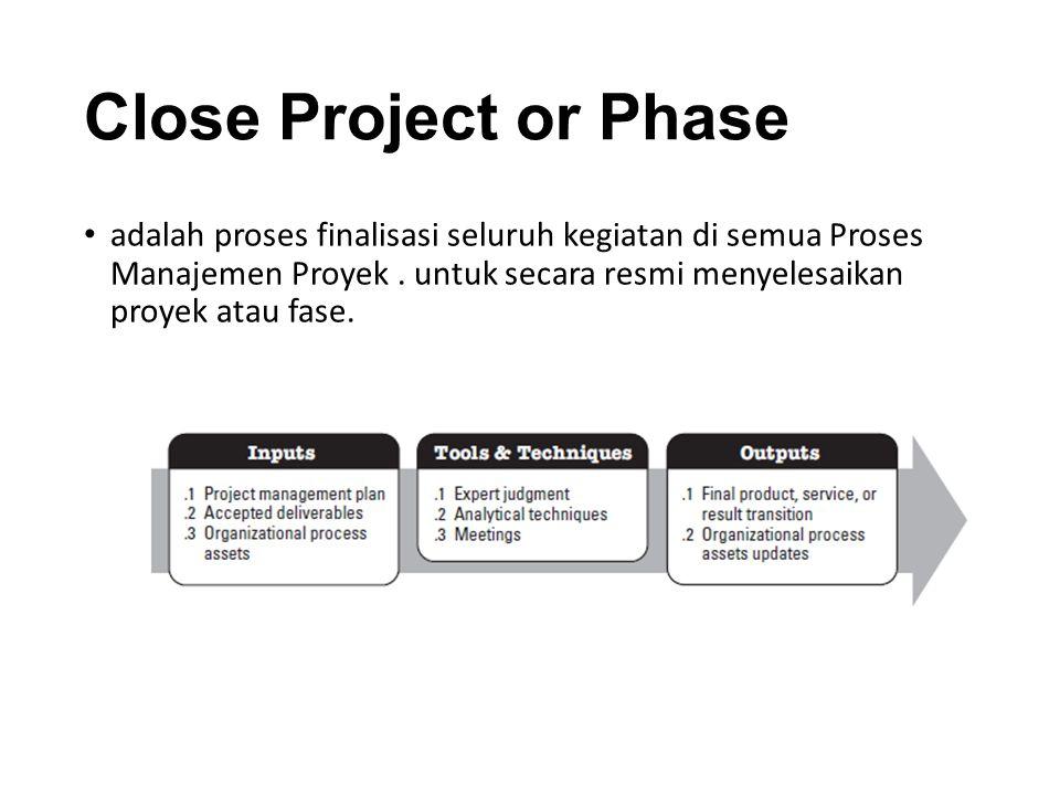 adalah proses finalisasi seluruh kegiatan di semua Proses Manajemen Proyek.