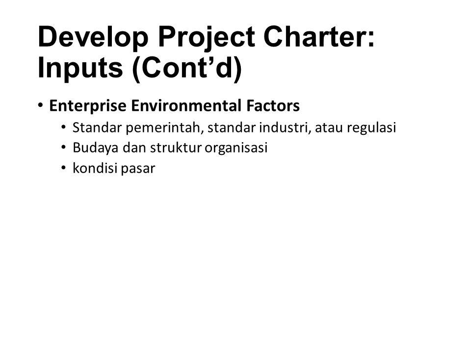 Develop Project Charter: Inputs (Cont'd) Organizational Process Assets Proses standar organisasi, kebijakan, dan definisi proses Pola Informasi sejarah dan pelajaran basis pengetahuan
