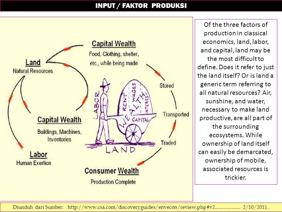 INPUT / FAKTOR PRODUKSI Diunduh dari Sumber: http://www.csa.com/discoveryguides/envecon/review.php#v2.................... 2/10/2011. Of the three fact