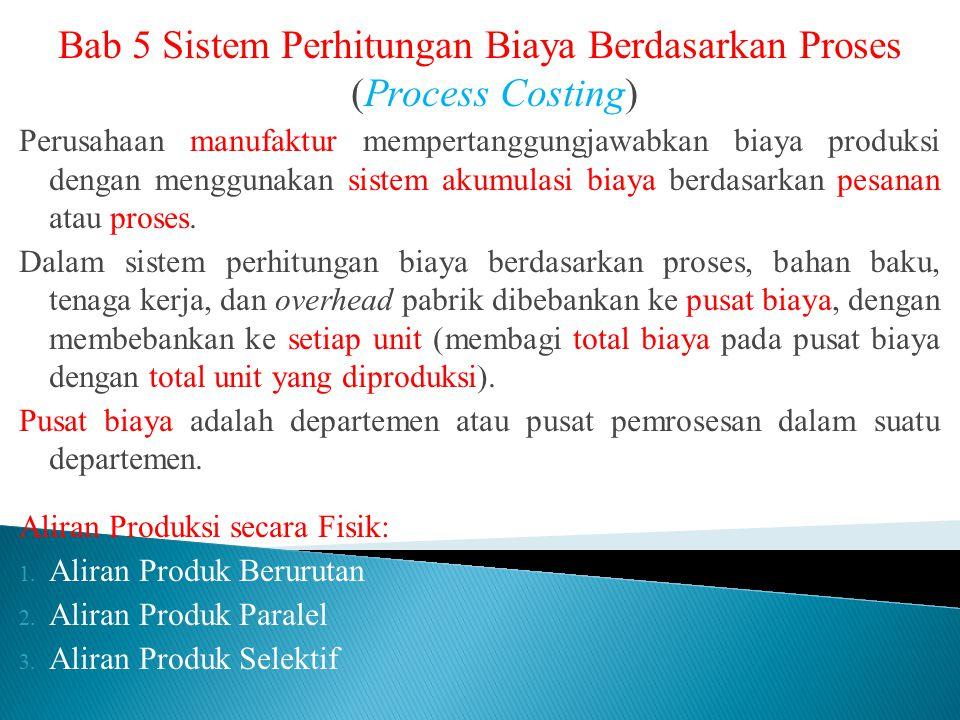 Bab 5 Sistem Perhitungan Biaya Berdasarkan Proses (Process Costing) Perusahaan manufaktur mempertanggungjawabkan biaya produksi dengan menggunakan sis