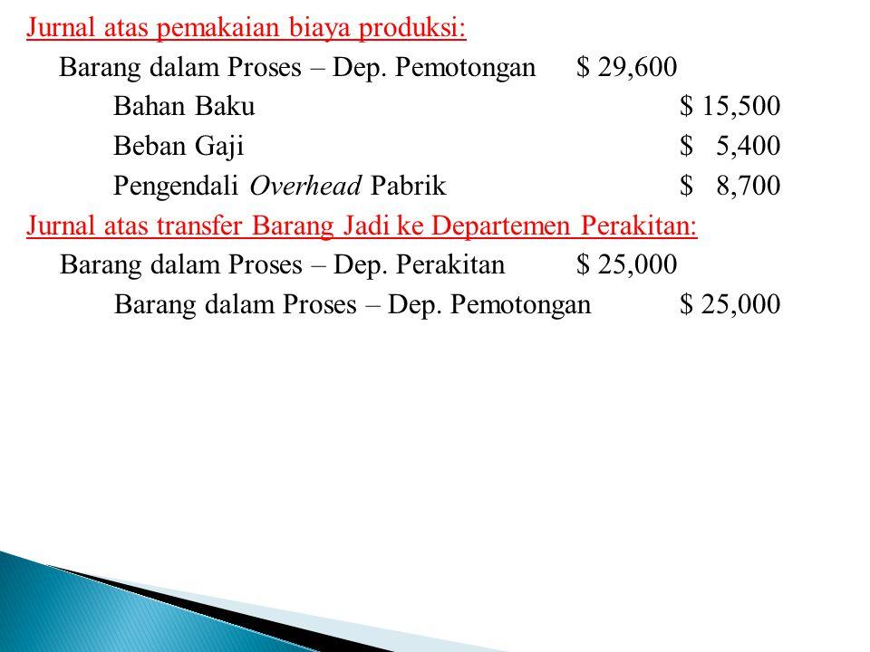 Jurnal atas pemakaian biaya produksi: Barang dalam Proses – Dep. Pemotongan $ 29,600 Bahan Baku$ 15,500 Beban Gaji$ 5,400 Pengendali Overhead Pabrik$