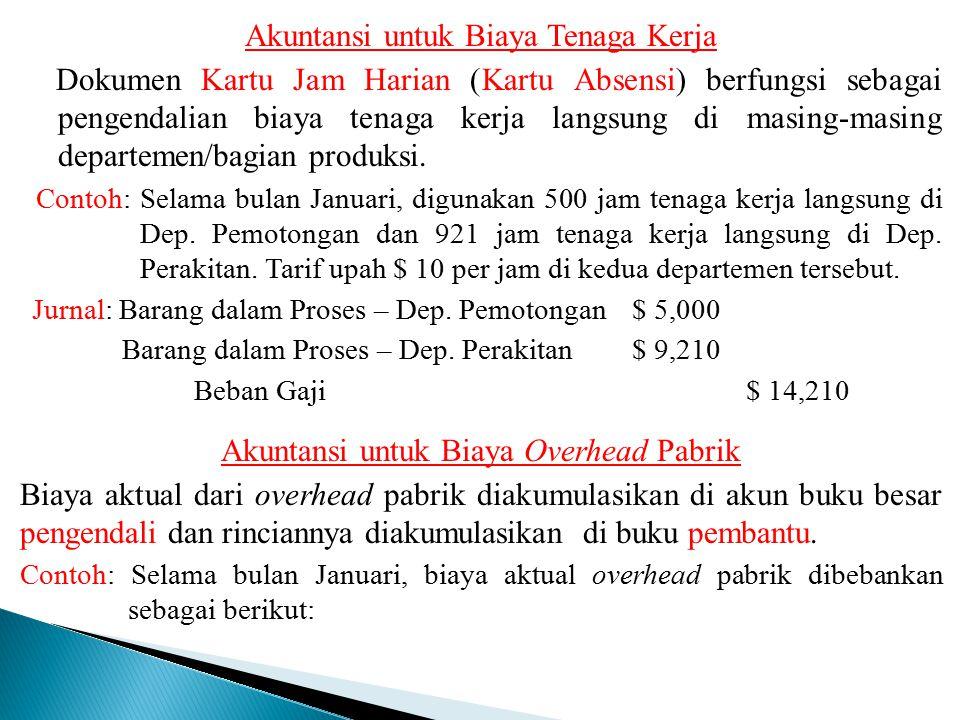 Akuntansi untuk Biaya Tenaga Kerja Dokumen Kartu Jam Harian (Kartu Absensi) berfungsi sebagai pengendalian biaya tenaga kerja langsung di masing-masin