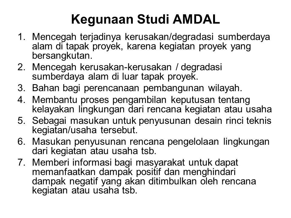 Kegunaan Studi AMDAL 1.Mencegah terjadinya kerusakan/degradasi sumberdaya alam di tapak proyek, karena kegiatan proyek yang bersangkutan. 2.Mencegah k