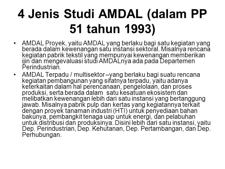 4 Jenis Studi AMDAL (dalam PP 51 tahun 1993) AMDAL Proyek, yaitu AMDAL yang berlaku bagi satu kegiatan yang berada dalam kewenangan satu instansi sekt