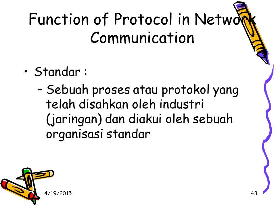 4/19/201543 Function of Protocol in Network Communication Standar : –Sebuah proses atau protokol yang telah disahkan oleh industri (jaringan) dan diakui oleh sebuah organisasi standar