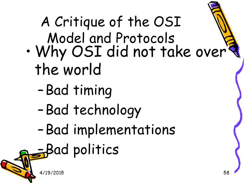 4/19/201558 A Critique of the OSI Model and Protocols Why OSI did not take over the world –Bad timing –Bad technology –Bad implementations –Bad politics
