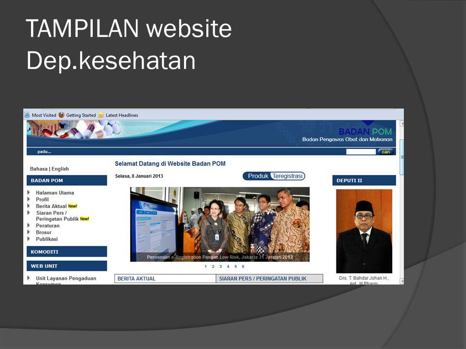TAMPILAN website Dep.kesehatan
