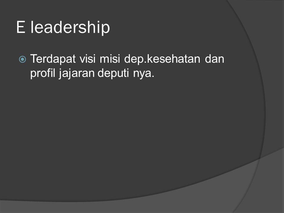 E leadership  Terdapat visi misi dep.kesehatan dan profil jajaran deputi nya.