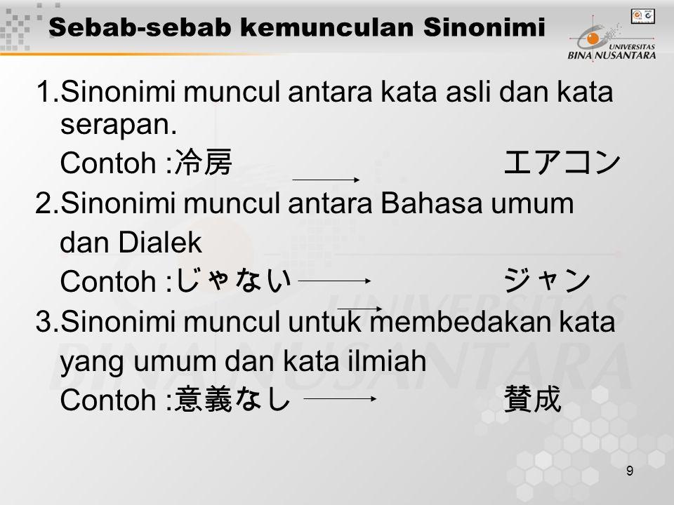 10 Sebab-sebab munculnya sinonimi 4.Sinonimi muncul antara Bahasa Kekanak- kanakan dan Bahasa Orang dewasa.