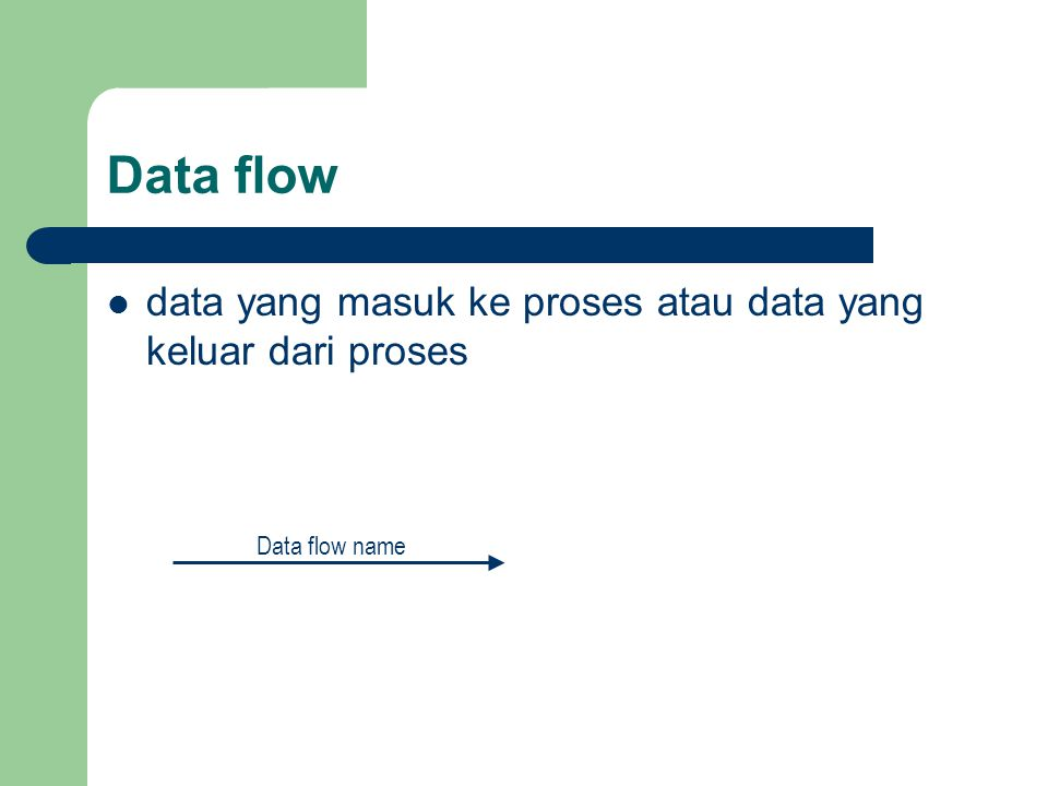 Data flow data yang masuk ke proses atau data yang keluar dari proses Data flow name